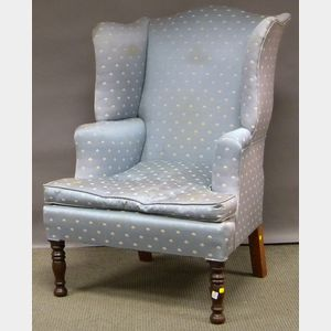 Late Federal Upholstered Mahogany Wing Chair.
