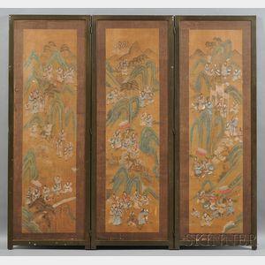 Three-panel Floor Screen