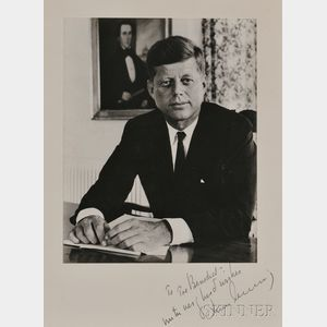 Kennedy, John Fitzgerald (1917-1963) Secretarially Inscribed Photograph.