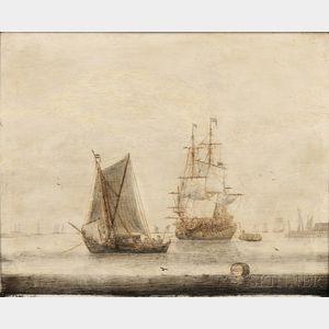 Cornelis Pietersz de Mooy (Dutch, 1630-1693)      Vessels in a Quiet Harbor
