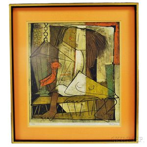 Angel Botello (Puerto Rican, 1913-1986)      Girl with Bird