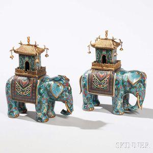 Pair of Cloisonne Elephant Figures