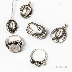 Group of Georg Jensen Sterling Silver Jewelry