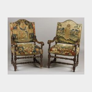 Two Continental Baroque Walnut Tapestry Upholstered Armchairs