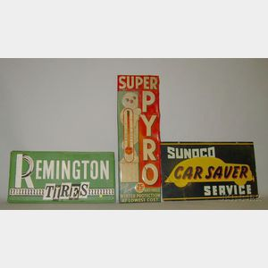 Remington Tires, Sunoco Car Service, and Super Pyro Antifreeze Signs