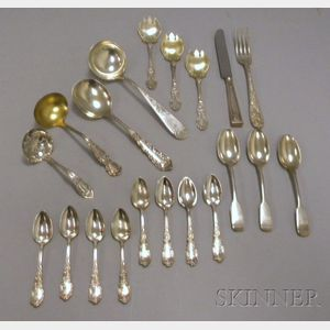 Approximately Nineteen Pieces of Sterling and Silver Plated Flatware