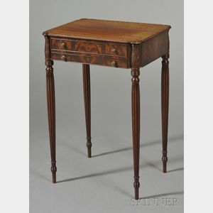 Federal-style Carved Mahogany and Mahogany Veneer Work Table
