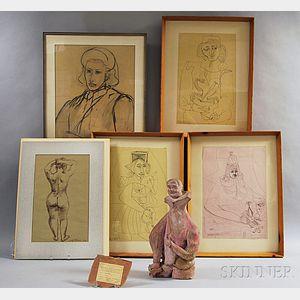 Six Works in Various Media:      Misha Dolnikoff (American, 1920-2005)