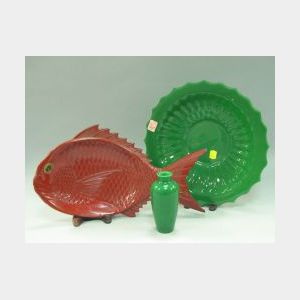 Green Peking Glass Bowl and Vase with a Red Lacquered Fish-form Tray.
