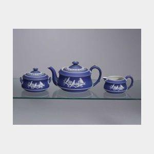 Three Piece Wedgwood Dark Blue Jasper Dip Tea Set