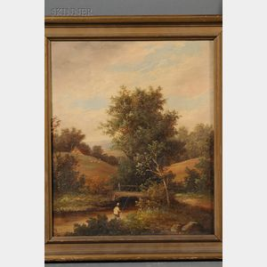Lot of Two Landscapes:       Attributed to George Spencer (Anglo/American, 19th Century), Hazy Afternoon