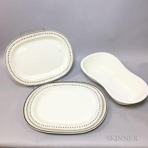 Three Creamware Platters and a Wedgwood Creamware Bidet