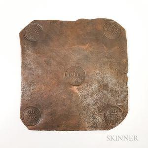 1723 Swedish Frederik I 4 Daler Copper Plate Money.