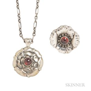 Sterling Silver and Garnet Pendant and Pin, Georg Jensen