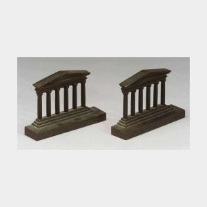 Pair of Cast Iron Temple-form Bookends.