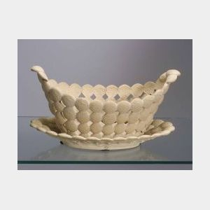 Wedgwood Cane Ware Biscuit Molded Basket and Stand