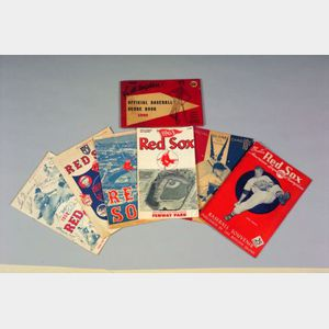 Six Vintage Boston Red Sox Score Card Programs, a Booklet, and a Score Book