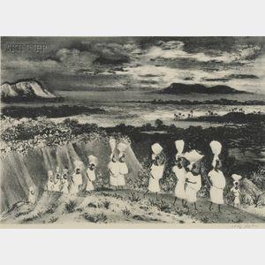 Adolf Arthur Dehn (American, 1895-1968)      Lot of Two Caribbean Views:  Market in Haiti
