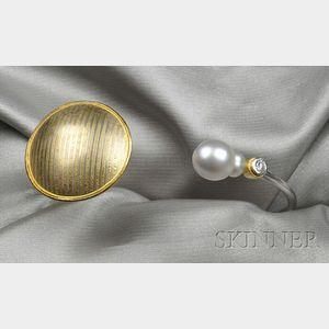 Artist-designed Cultured Pearl and Diamond Bracelet, Wilhelm Buchert