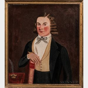 Attributed to Jonathan Adams Bartlett (Maine, 1817-1902)      Portrait of a Young Man with a Ledger Book