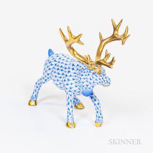 Blue Herend Reindeer with Gilt Antlers