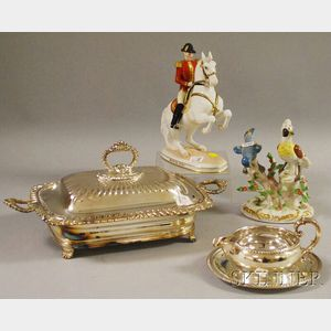 Four Ceramic and Silver-plated Table and Decorative Articles
