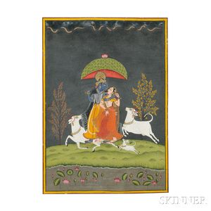 Miniature Painting Depicting Radha and Krishna
