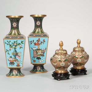 Two Pairs of Cloisonne Items