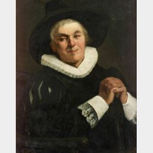 Continental School, 19th Century  Portrait of a Gentleman in a Black Hat and White Ruff.