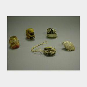 Five Carved Ivory Netsuke.