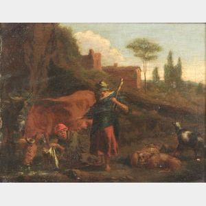 Manner of Nicolaes Berchem (Dutch, 1620-1683)  Two Figures with Farm Animals.