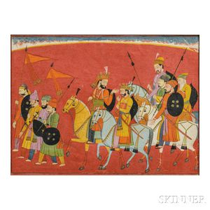 Miniature Painting of Sisupala and his Retinue