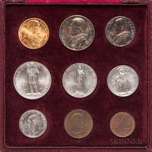 1929 Pius XI Vatican Nine-coin Mint Set