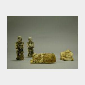 Four Japanese Carved Ivory Netsuke.