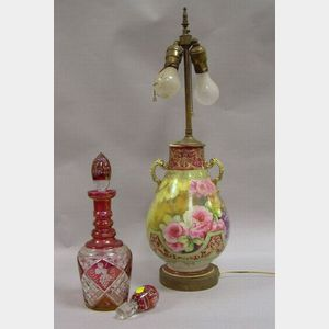 Nippon Floral Decorated Porcelain Lamp Base and Etched Ruby Flash Decanter