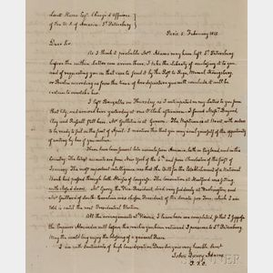 Adams, John Quincy (1767-1848) Autograph Letter Signed, Paris, 5 February 1815.