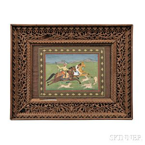 Miniature Painting Depicting a Hunting Scene