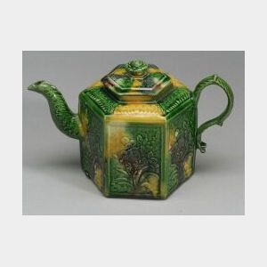 Staffordshire Hexagonal Lead Glazed Creamware Teapot and Cover