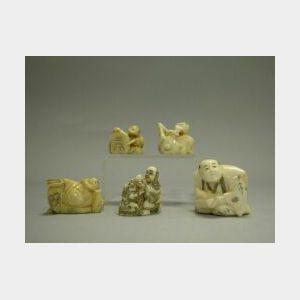Five Japanese Carved Ivory Netsuke.