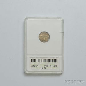 1851-O Three Cent Silver Trime, ANACS MS61.