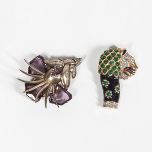 Two Kenneth J. Lane Costume Brooches