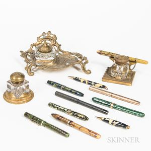 Three Brass and Glass Inkwells and Ten Fountain Pens and Mechanical Pencils.