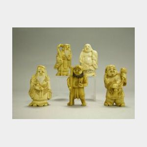 Five Small Japanese Carved Ivory Figures.