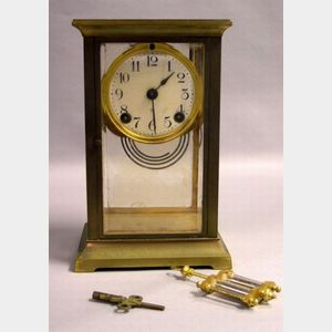 Ansonia Clock Co. French-style Brass and Glass Mantel Clock.
