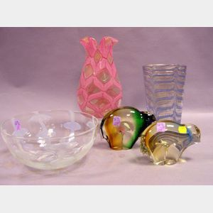 Five Pieces of 20th Century Modern Art Glass