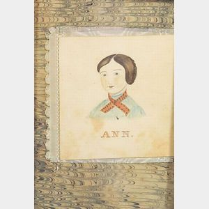 American School, 19th Century    Miniature Portrait of Ann Squires of Clarendon, Vermont.