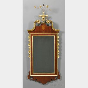 Federal-style Mahogany Inlaid and Gilt-gesso Mirror
