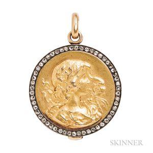Gold and Rose-cut Diamond Locket