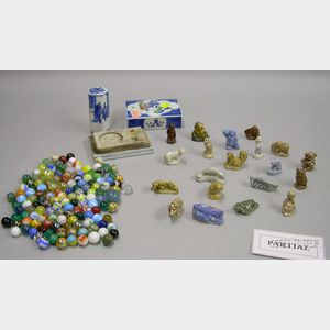 Group of Wade Figures and Internally Decorated Marbles and Two Asian Seal Pieces
