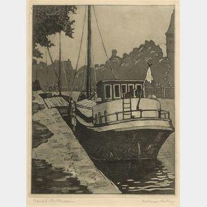 Kalman Kubinyi (American, 1906-1973)      Canal Rotterdam.